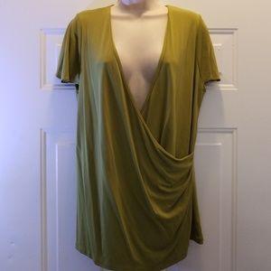 Jones New York women olive green wrap front blouse